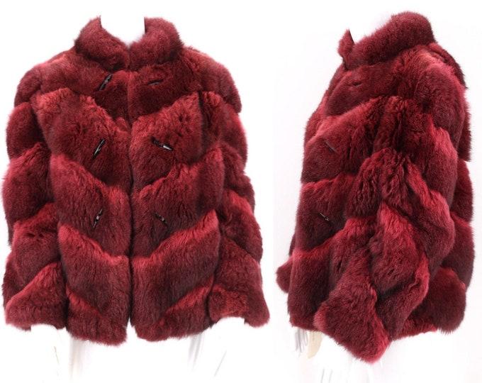 70s Possum red fur vintage coat M / vintage 1970s cranberry fluffy shaggy chevron waist length chubby real fur coat  M-L