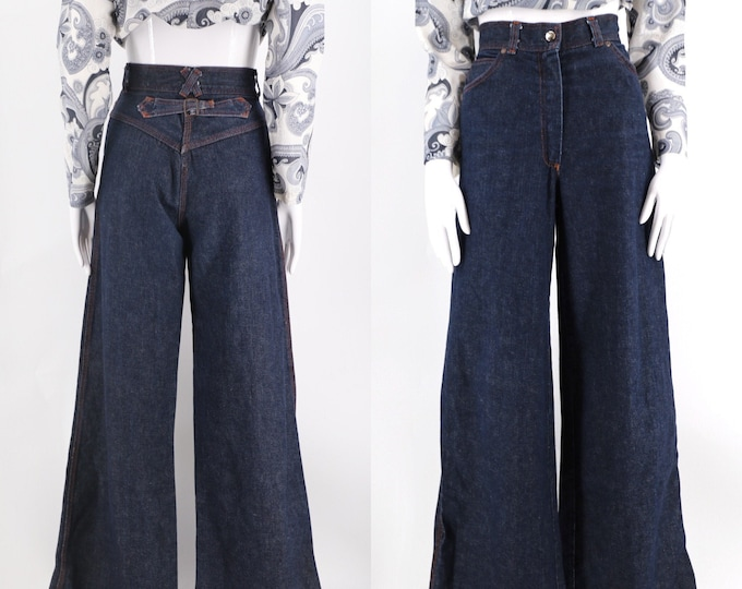 70s dark denim buckle back hi waist bells / vintage 1970s / 1940s wide leg bell bottoms pants sz 29