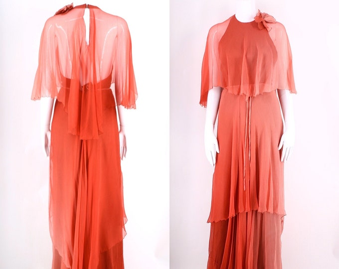 70s England dusty rose ombre silk gown / vintage 1970s Julia Fortescue maxi dress w/ attached cape UK 6 US 0 XS