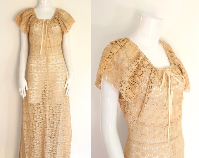 70s crochet maxi dress / vintage 1970s sheer knit bohemian summer bridal gown 1930s inspired dress sz L