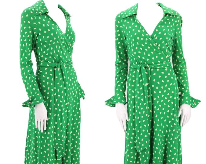 70s DVF green wrap dress 6 / 1970s vintage green print Diane Von Furstenberg dot sash tie dress 1970s S-M