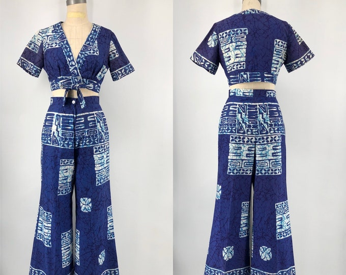 60s TIARE Hawaii batik print cotton set