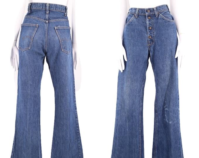 70s 80s LEVIS 517 high waist snap front bell bottom jeans 32 / vintage 1970s 1980s vintage Levis flares pants 32 x 32