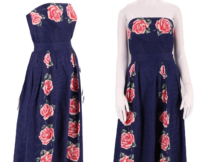 """50s floral cotton day dress outfit 26"""" / vintage early 1950s painted chintz 2 pc set bustier and skirt post war mid century S"""