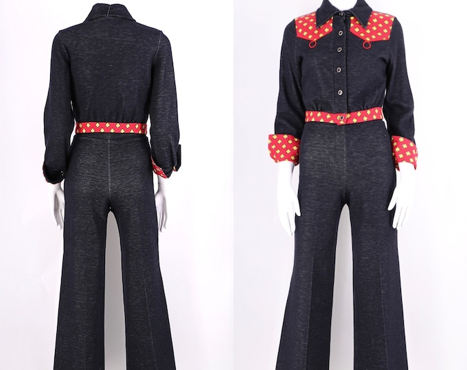 70s knit bell bottoms 2 pc set  / vintage 1970s Western details navy flares bell bottoms sz 4 / S