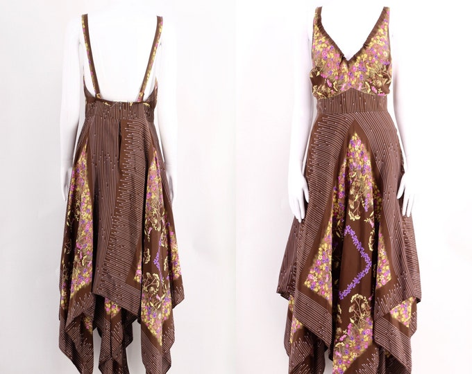 70s TED LAPIDUS silk Stevie dress / vintage 1970s Lapidus Haute Couture scarf print kerchief dress sz M / 8