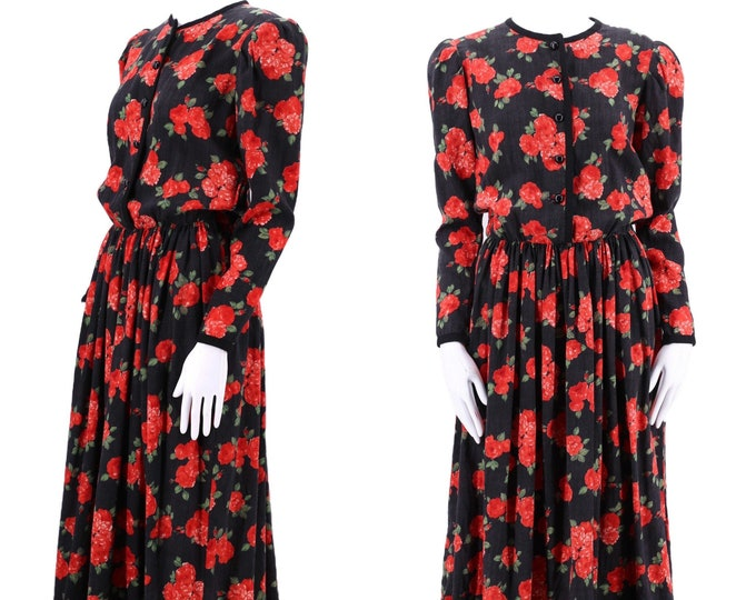 70s YSL Yves Saint Laurent rose print peasant dress 8 / vintage 1970s wool challis velvet trim puff shoulder 80s dress 38 8