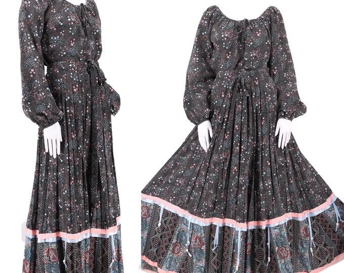 70s black print peasant dress XL / vintage 1970s Chessa Davis 2 pc set / peasant blouse maxi skirt w/ ribbon trim L plus size