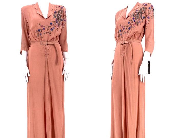 40s pink rayon beaded dress L / 1940s floral bow beaded petal pink gown / WWII era evening gown large