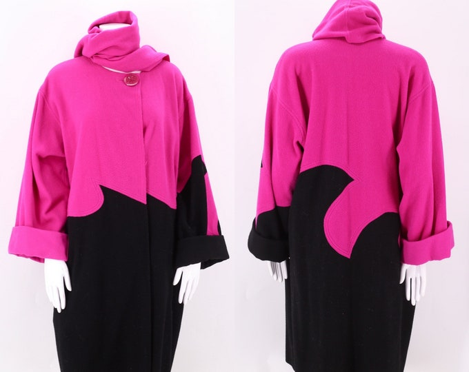 80s draped wool Coat L / vintage 1980s two tone magenta black oversized coat Large art to wear