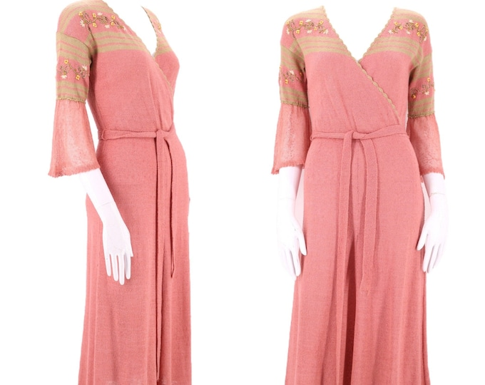 1930s pink KNIT day dress M / vintage 1930s knitwear embroidered belted dress RARE Art Deco