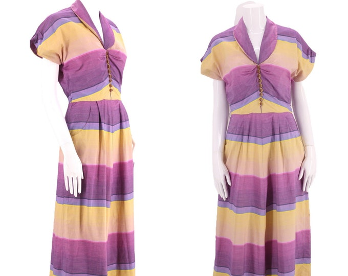 """50s chevron striped cotton summer day dress 26"""" / vintage early 1950s ADRIAN TABIN ombre print post war mid century M"""