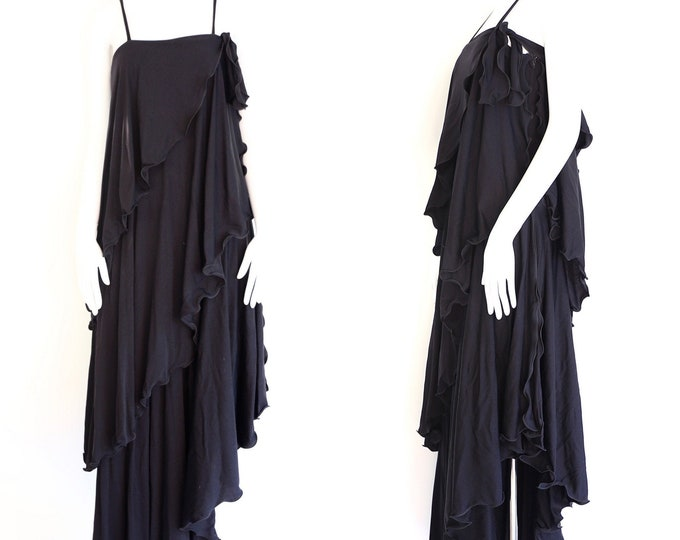 70s JOHN MARKS Anne Tyrrell black jersey dress / vintage 1970s English tiered maxi gown UK 12  6-8