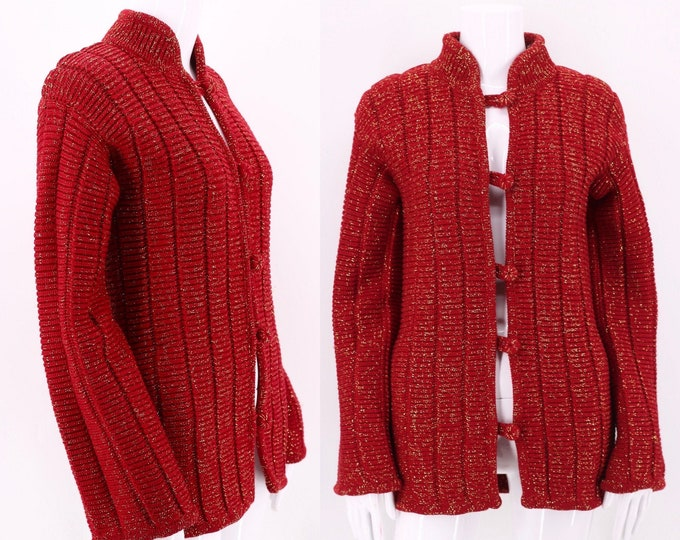 70s VALENTINO red lurex sweater S/ vintage 1970s gold metallic heavy knit cardigan / sweater coat small