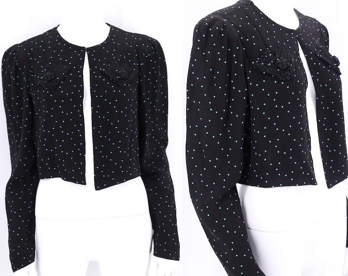 40s heart print rayon jacket m-l  / vintage 1940s crepe bolero / 40 womens novelty print top