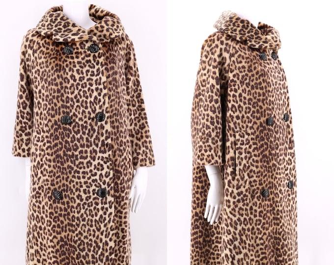 50s vintage SOMALI leopard print faux fur coat L  / vintage pin up cheetah plush fur flared A line coat 1960s 50s size L