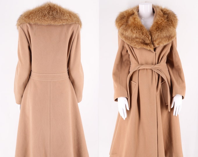 70s fox collar camel coat / vintage 1970s beige wool fur collar sash tie trench coat for winter sz L