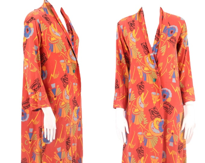 30s Deco print robe / vintage 1920s 1930s abstract floral salmon poished cotton duster antique kimono M-L