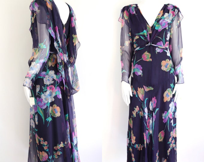 80s HOLLY HARP floral silk chiffon dress sz m / vintage 1980s tiered fluttery navy print dress org tags