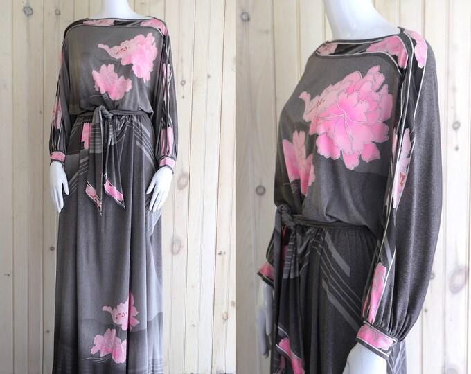 70s LEONARD Paris maxi gown / vintage 1970s silk jersey pink & gray batwing peasant sleeve floral print maxi dress  Large