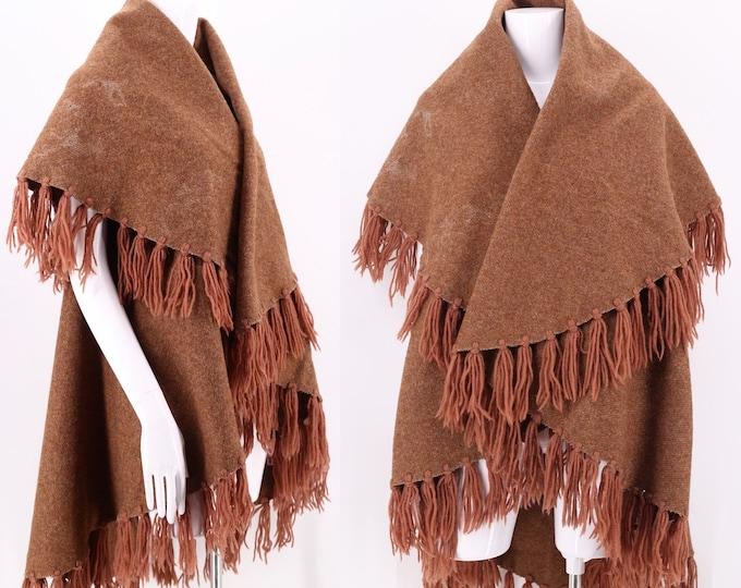 70s brown wool fringe blanket coat / vintage 1970s draped wool vest / wool poncho cape M