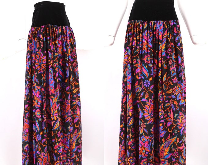 "70s YSL print peasant skirt XS / 1970s vintage Yves Saint Laurent bright printed wool velvet maxi 23"" waist"