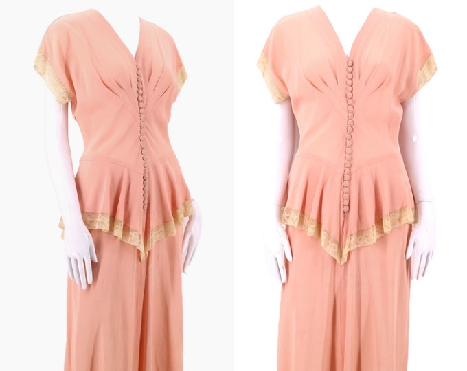 40s pink rayon crepe day dress M / 1940s blue floral beaded evening gown vintage dress size large L