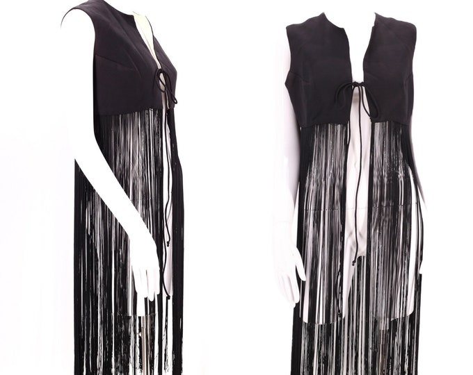 60s Woodstock black fringe vest M / vintage swinging 1960s mod long fringe festival hippy top