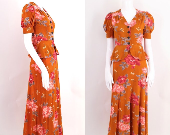 70s does 40s floral dress set sz 6 / vintage 1970s California rust floral print puff sleeve 2 pc outfit sz S