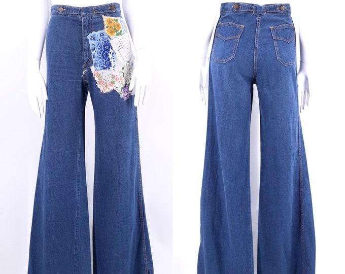 70s high waisted custom denim bell bottoms jeans 26 / vintage 1970s Chemin De Fer ribcage flares pants sz S - 4