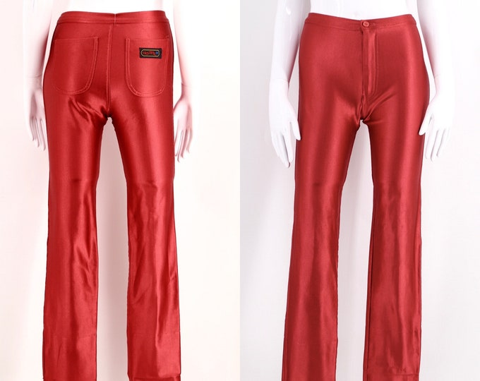 70s red TROUSERS UP original spandex disco pants S / vintage 1970s shiny skin tight leggings size 4-6