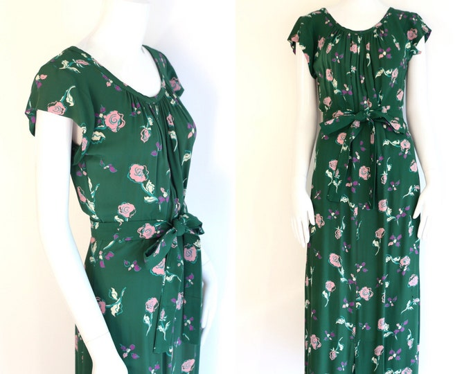 40s novelty print rayon day dress : vintage 1940s pink and green floral summer sash dress M