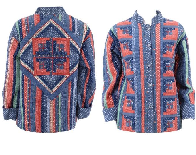 70s quilted jacket M / vintage 1970s handmade quilt jacket / vintage patchwork jacket