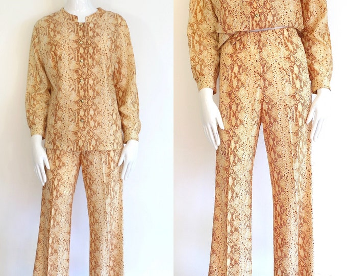 60s snakeskin print outfit / vintage 1960s python print set top and bell bottoms sz L