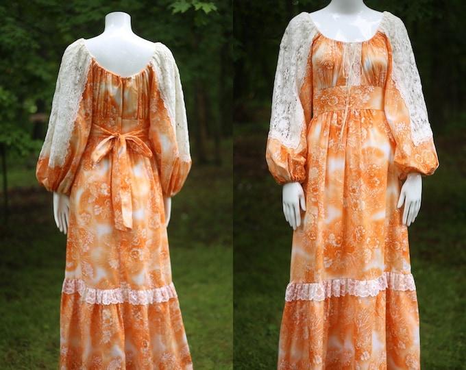 70s orange crush print prairie maxi dress 7 / vintage 1970s fairytale peasant dress gown M