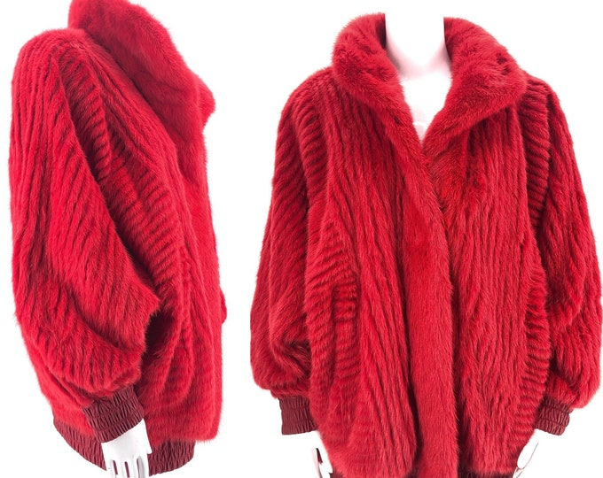 80s lipstick red FOX FUR coat / vintage 1980s wild ribbed reversible fur to leather jacket sz L