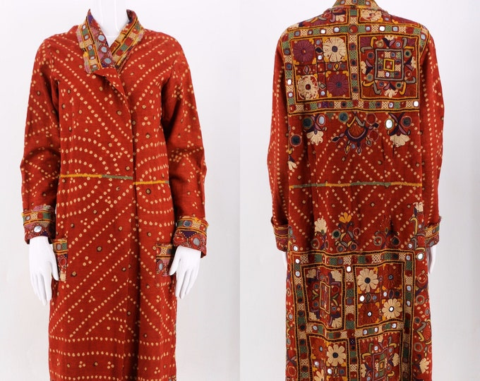 antique 20s Indian mirrored Banjara coat / vintage 1920s 30s hand dyed and embroidered duster jacket