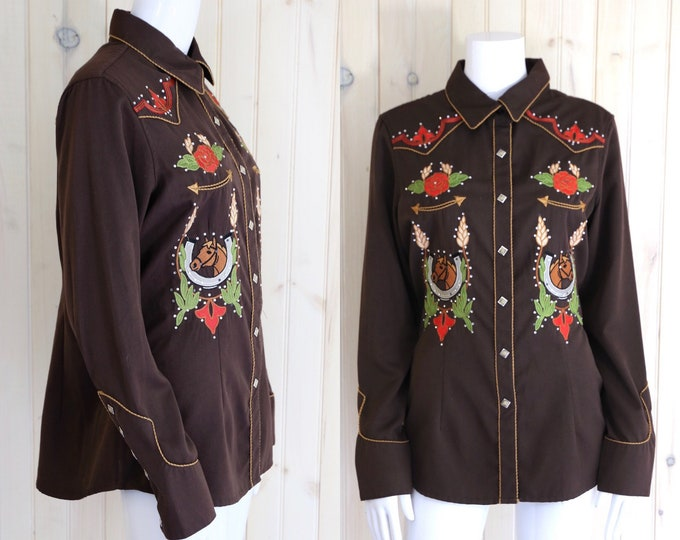 vintage Panhandle Slim rhinestone cowgirl shirt / brown embroidered western snap front horseshoe blouse sz L