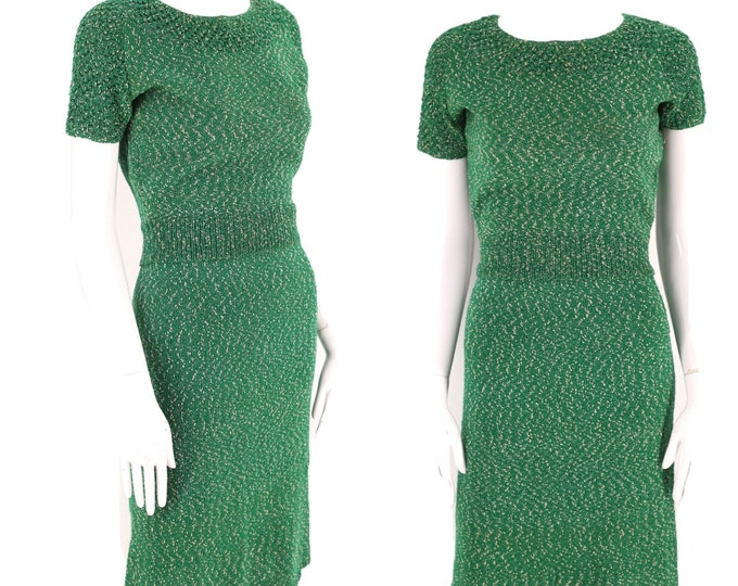 60s green KNIT day dress set S / vintage 1960s knitwear sweater girl outfit with skirt