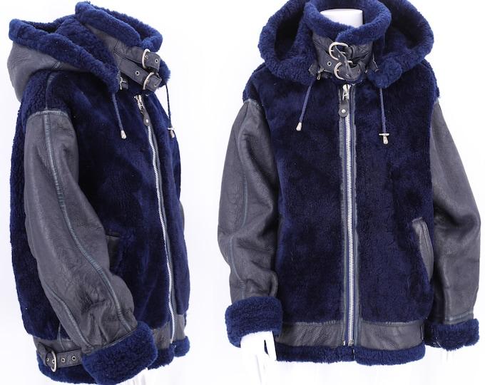 vintage shearling bomber jacket L / 80s navy leather fur motorcycle jacket / oversized shearling coat unisex