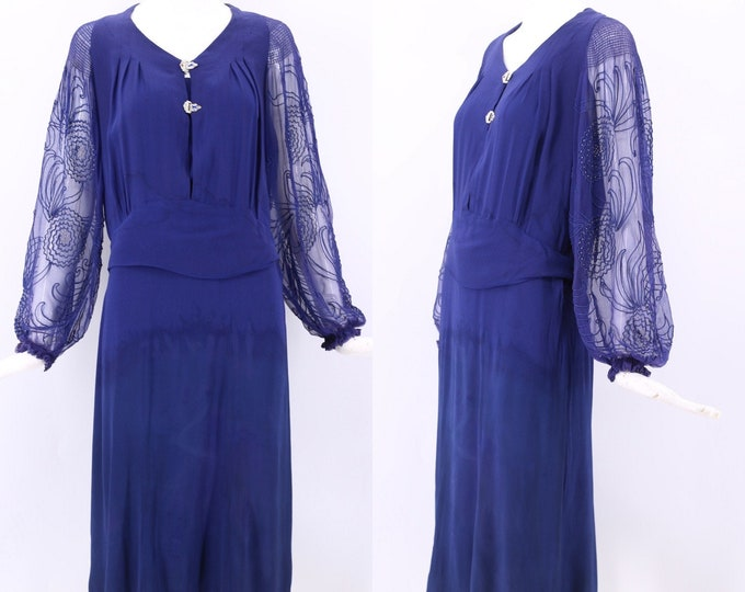 30s blue peasant sleeve day dress size M / vintage 1930s Art Deco embroidered rhinestone clasps rayon crepe gown AS IS