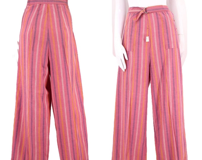 """40s womens vintage pants 32"""" / vintage 1940s pink pinstripe pin up trousers rare large 12 30s"""