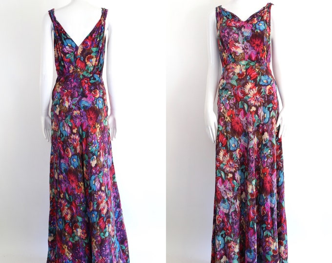 30s silk floral print gown / vintage 1930s fluid silk bias cut maxi dress with novelty print artistic floral sz S-M