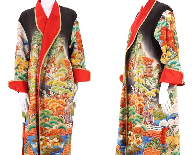 vintage Namba embroidered kimono robe  / 90s duster remade from antique Japanese kimono one size / large