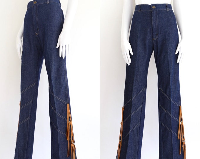 70s FREDERICKS of HOLLYWOOD high waisted sz 29 denim bell bottoms jeans  / vintage 1970s flare leg fringed western concho pants sz 8