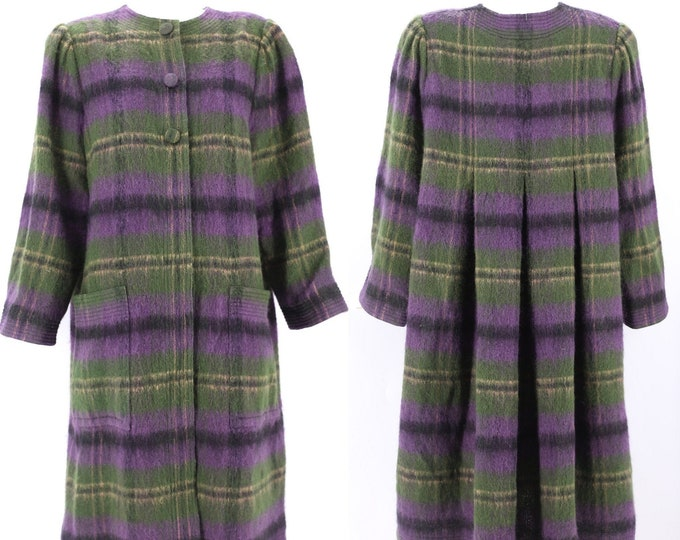 80s ADELE SIMPSON mohair swing Coat L / vintage 1980s striped wool A line winter coat