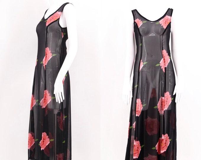 90s BETSEY JOHNSON chiffon rose print dress sz S / vintage 1990s floral print sheer tie dress