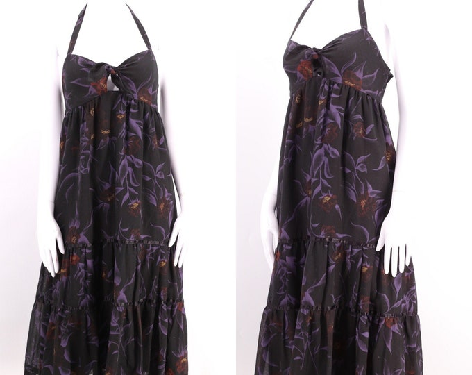 70s YOUNG EDWARDIAN peasant halter dress / vintage 1970s Arpeja black floral print summer baby doll sz M