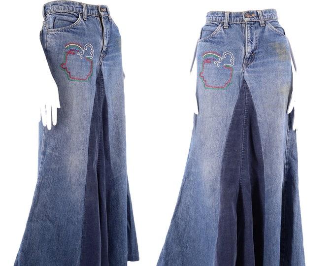 70s Levis orange tab denim maxi skirt 28 / vintage 1970s custom embroidered Woodstock era skirt / long denim patchwork skirt