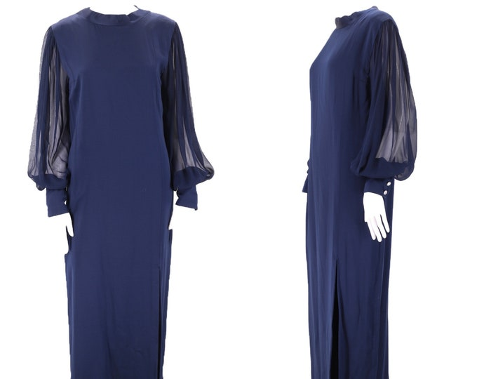 70s PAULINE TRIGERE navy silk column gown 8 / vintage 1970s blue evening gown with chiffon bishop sleeves maxi dress M
